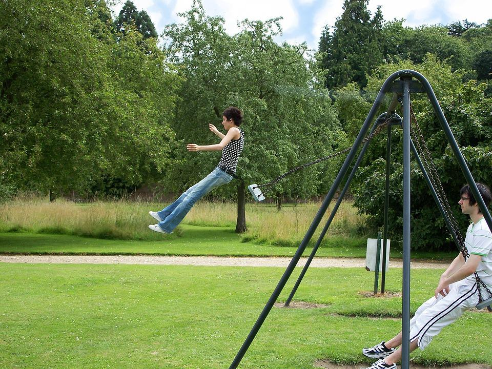 Swing, Swinging, Girl, Jumping, Teenager, Playground
