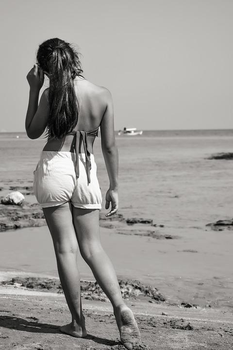 Girl, Thoughtful, Beach, Summer, Nature, Young, Female