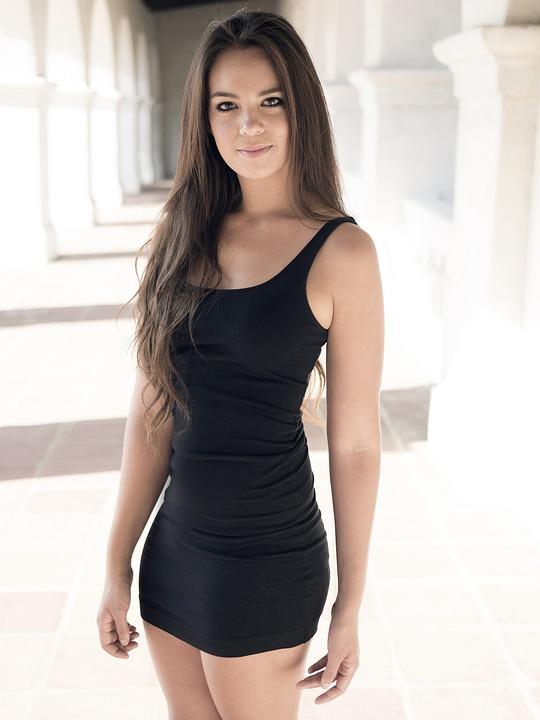 Girl, Woman, Black Dress, Long Hair, Sexy, Tight Dress