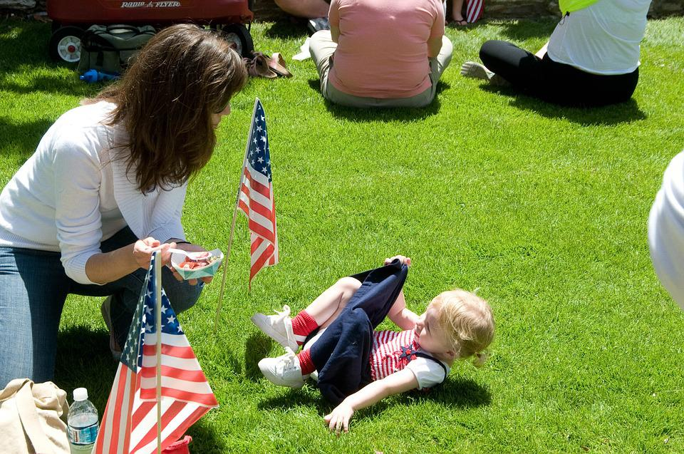 Girl, Toddler, Flag, Lawn