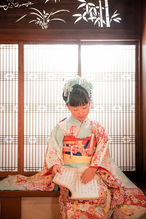 Kid, Reading, Kimono, Traditional, Cultural, Girl