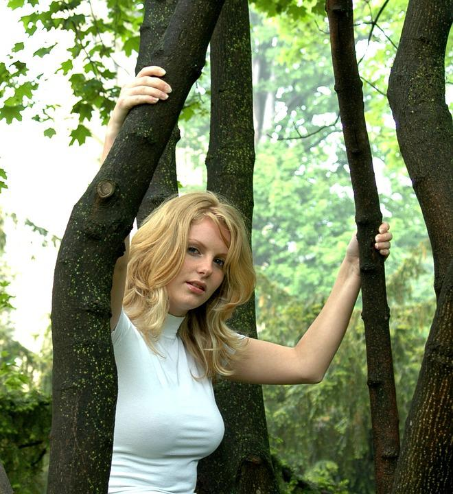 Forest, Girl, Tree, View