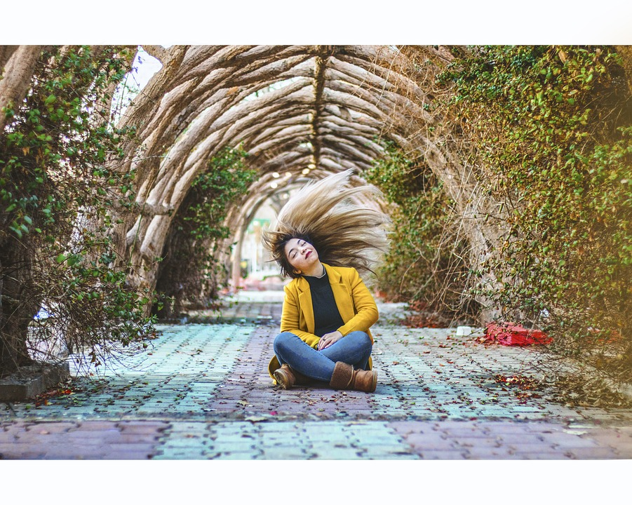 Girl, Wind, Boots, Park, Tunnel