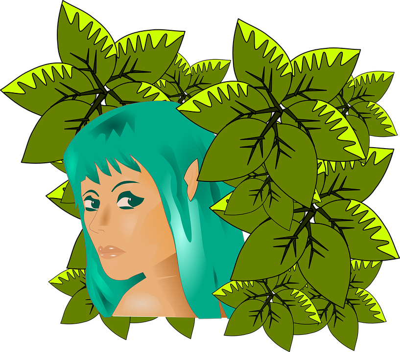 Woman, Girl, Turquoise, Leaves, Nature, Adam And Eve