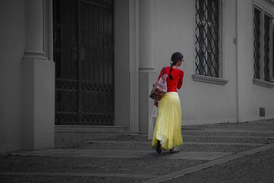 Woman, Red, Yellow, Female, Walking, Girl, Young
