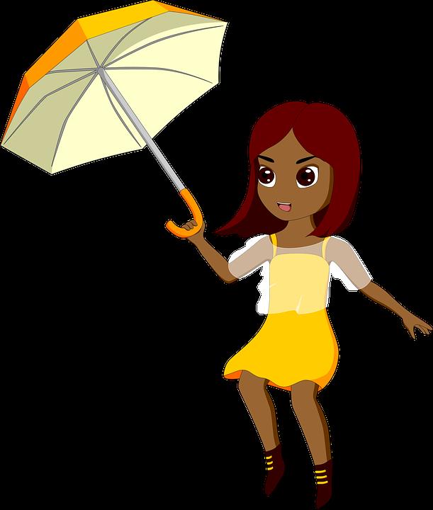 Girl, Wind, Weather, Umbrella, Windy