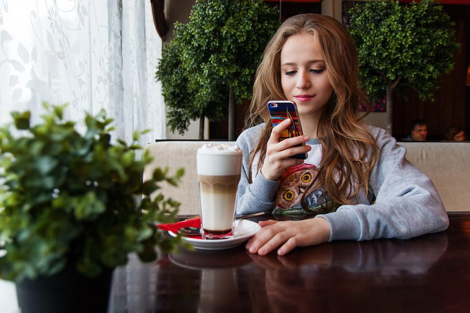 Girl, Teen, Café, Near The Window, Window, Smartphone