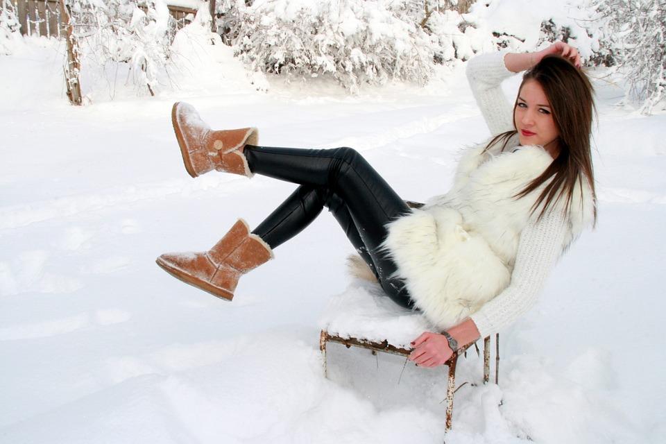 Girl, Snow, Chair, White, Feerie, Winter, Blonde