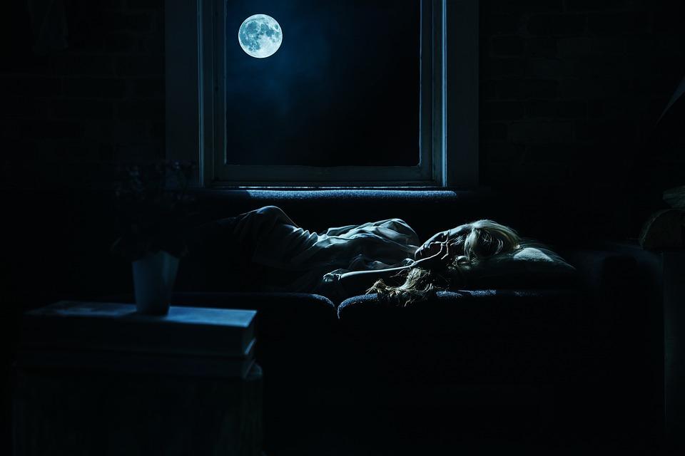Night, Moon, Dark, Blue, Woman, Girl, Sofa, Living Room