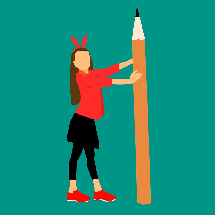 Girl, Holding A Huge Pencil, Writing, Education, School