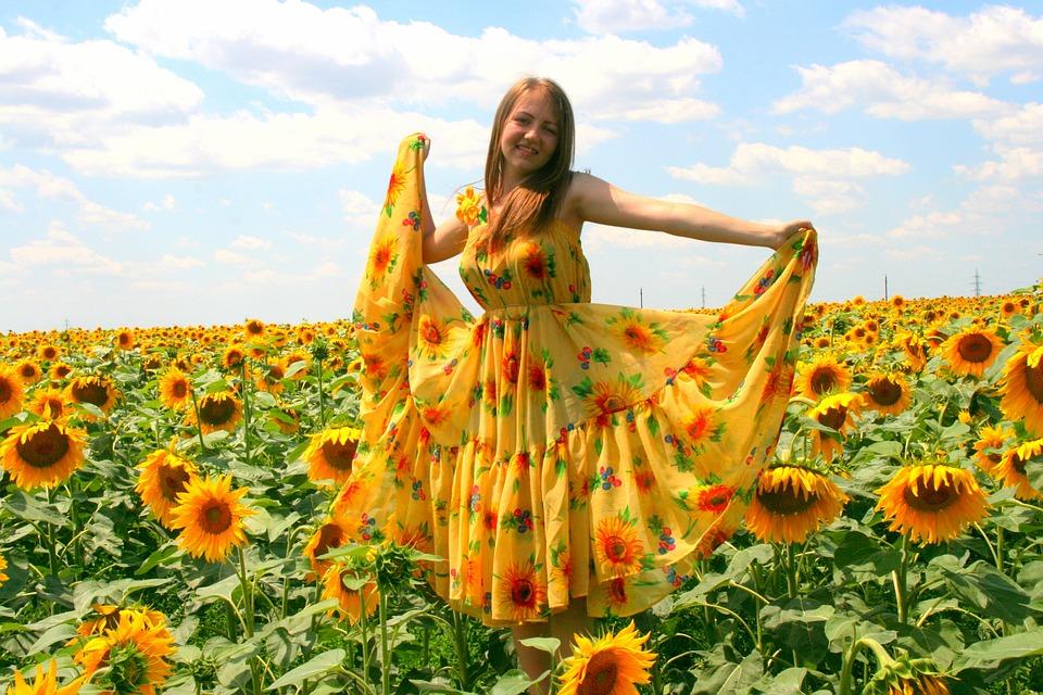 Free photo girl yellow sunflower dress max pixel sunflower girl dress yellow mightylinksfo