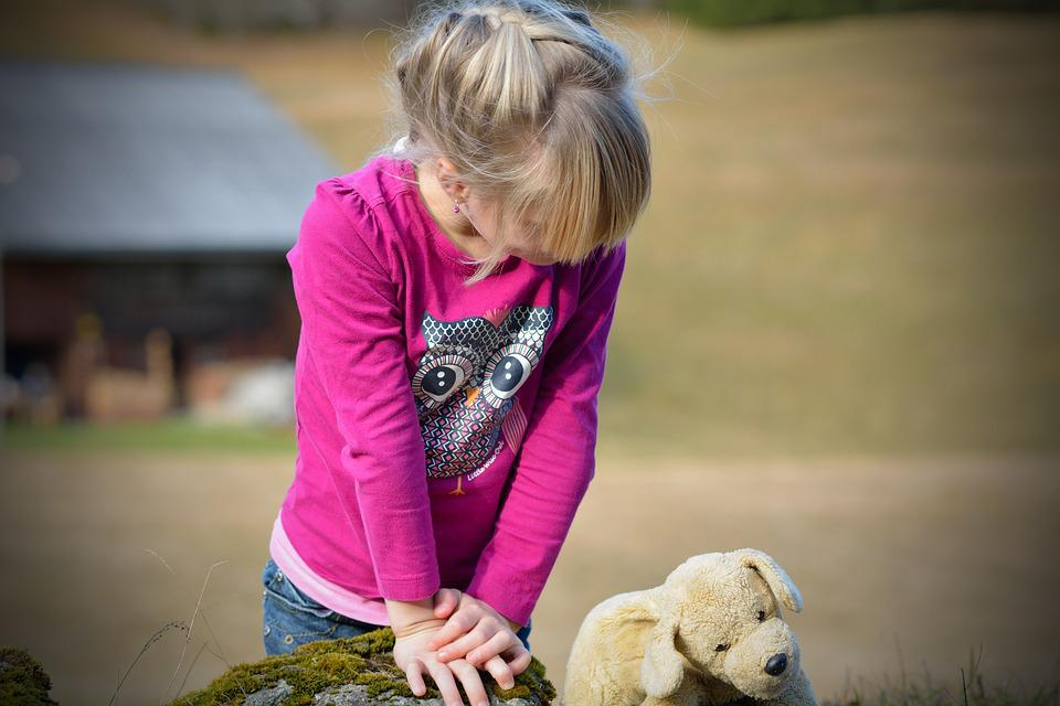 Out, Child, Girl, Nature, Teddy Bear, Cute, Young