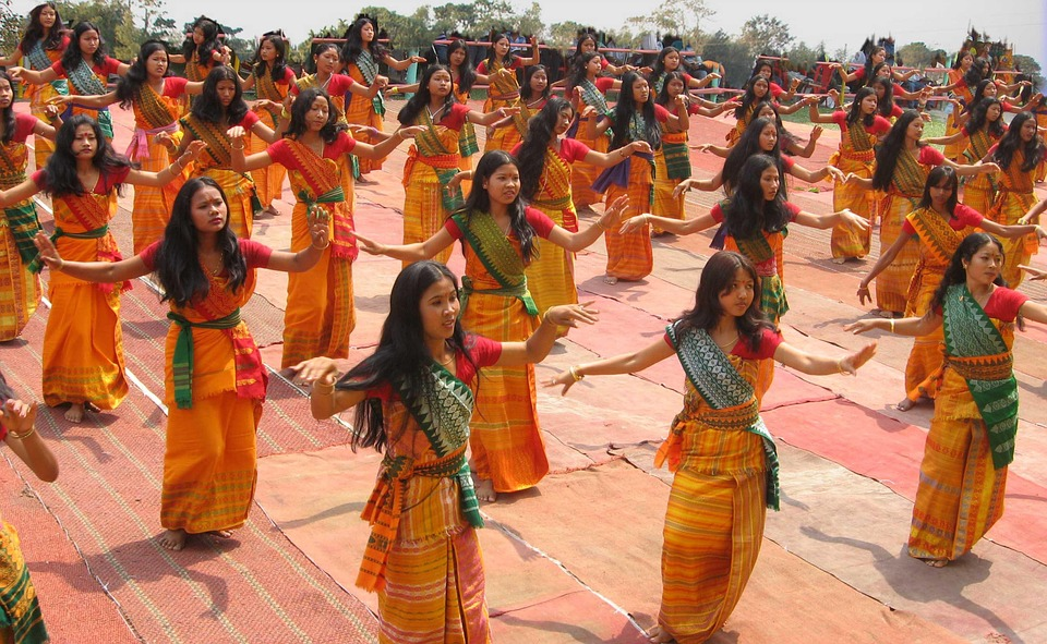 Bodoland, India, Women, Girls, Dancing, Ceremonial