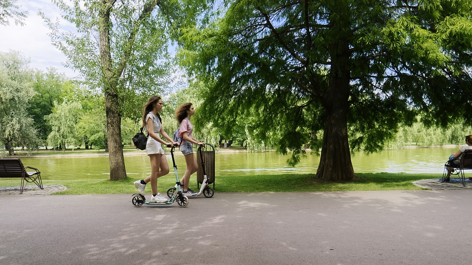 Girls, Young, Scooters, Electric Scooters, Walkway