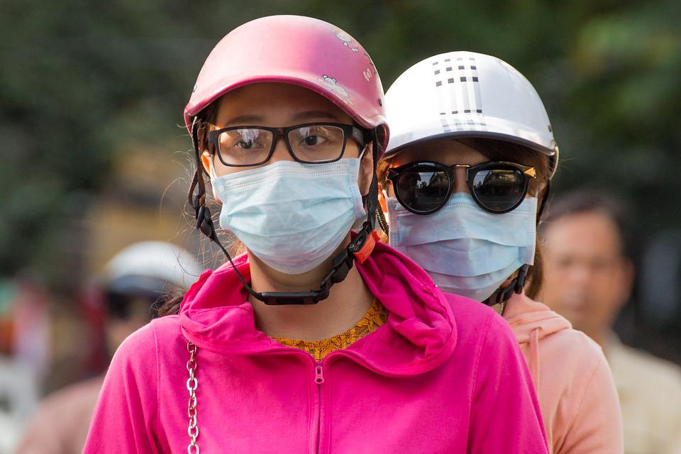 Scooter, Mask, Helmet, Girls, Pollution, Fashion