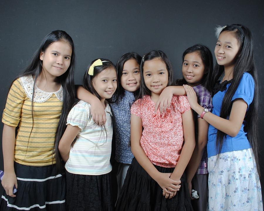 Girls, Children, Portrait, Friends, Childhood, Happy