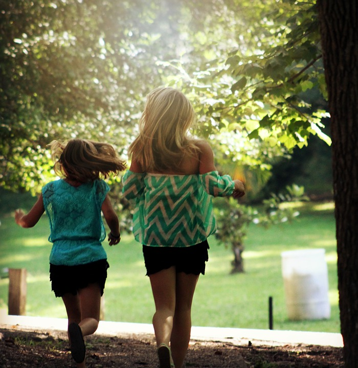 Girls, Young, Running, Happy, Person, Summer, Outdoor