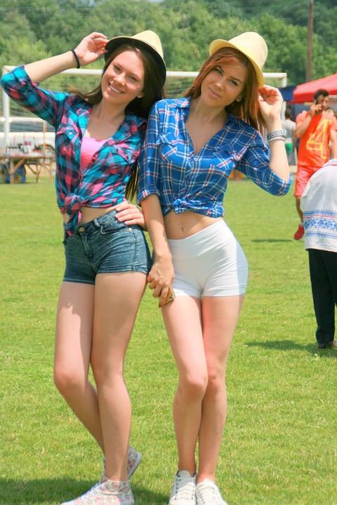 Girls, Cheerfulness, Summer, Smile, Beauty, Hats