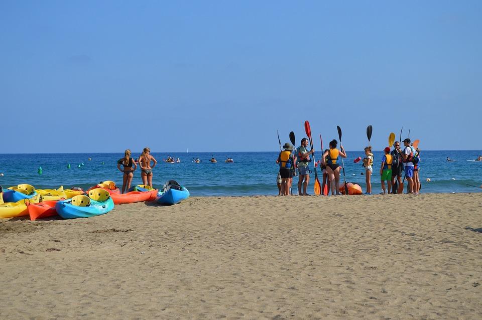 Beach, Swimsuit, Spain, Women, Girls, Group, Holiday