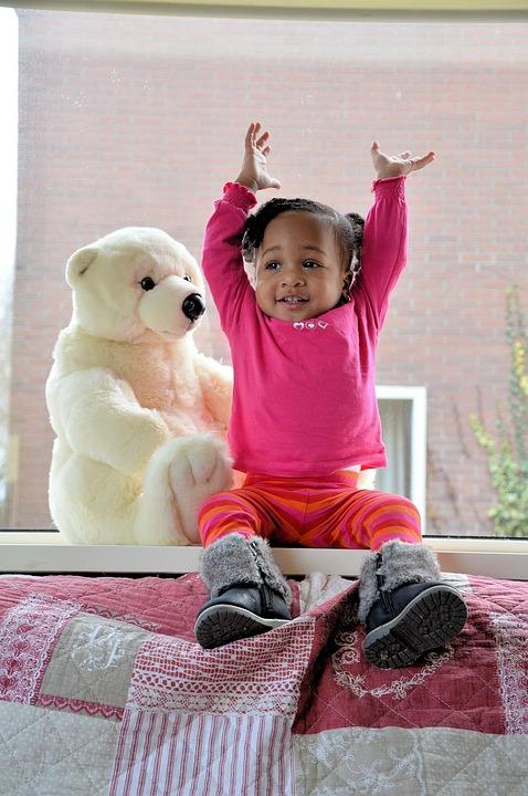 Girls, Children, Happy, Kids, Playing, Teddy Bear