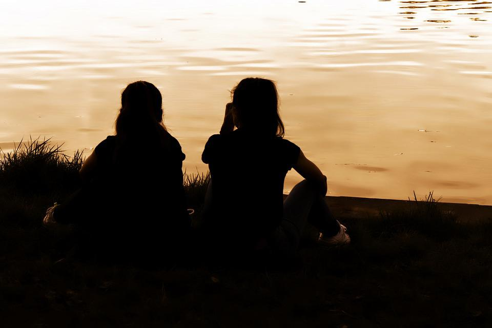 Girls, People, Young, Silhouettes, Placed, Grass