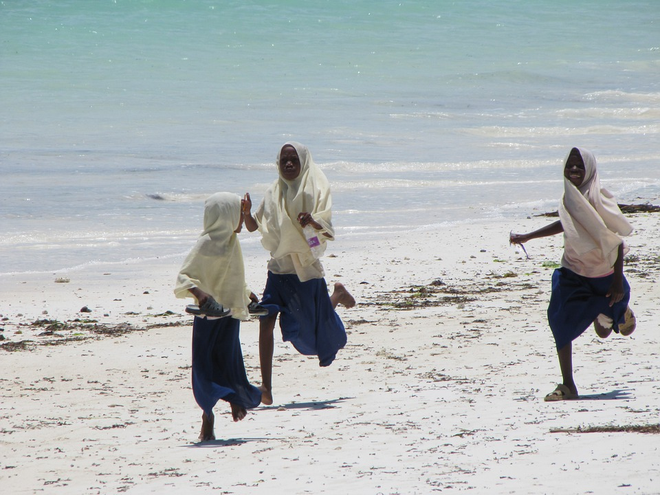 Muslim, Girls, Running, Racing, Zanzibar