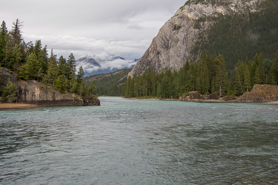 Bow River, Canadian Rockies, Snow Cap, Glacier, River