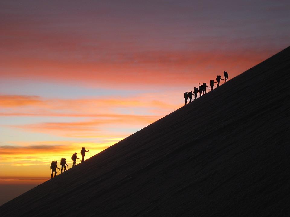Sunrise, Mountaineering, Glacier, Team, Mexico, Orizaba