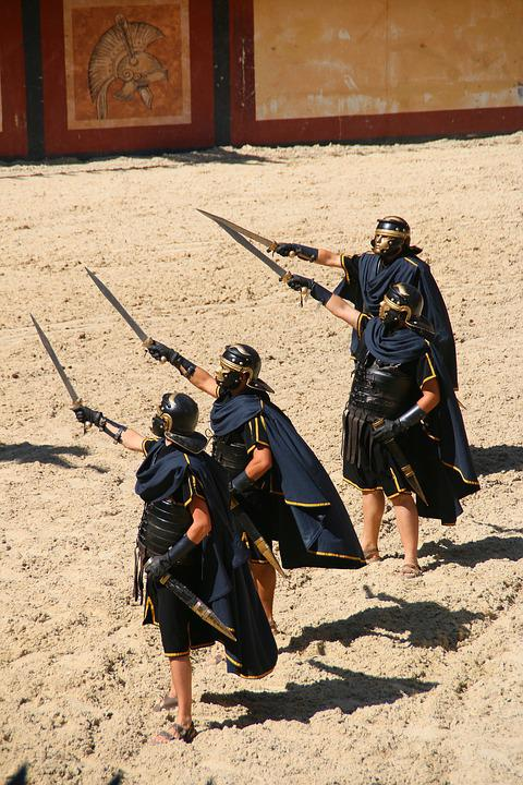 Roman, Soldier, Costume, Sword, Gladiator, Helmet, Rome