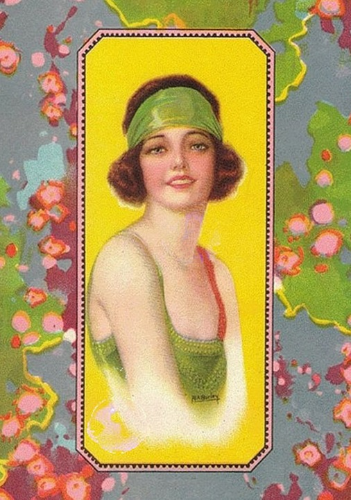 Vintage, Flapper, Art, Collage, Glamour, Bob, Hairstyle