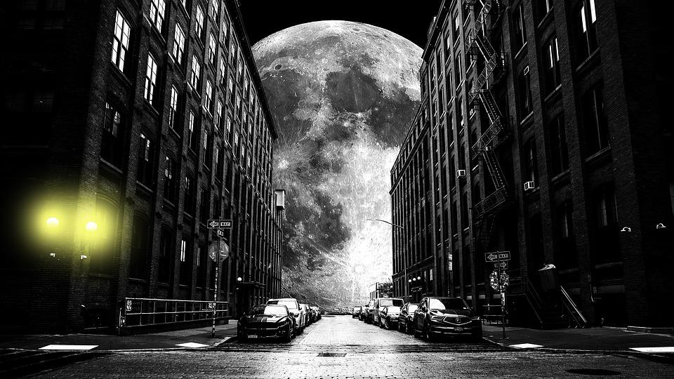 Moon, Black And White, Glare, Yellow, Cars, Light