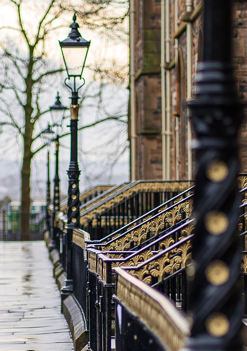 Lamp Post, Railings, Lamplights, Glasgow