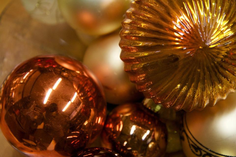 Advent, Room Decorations, Glaskugeln, Color, Golden