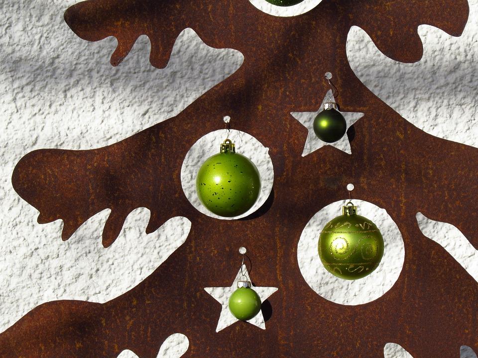 Christmas Tree, Metal, Glaskugeln, Christmas