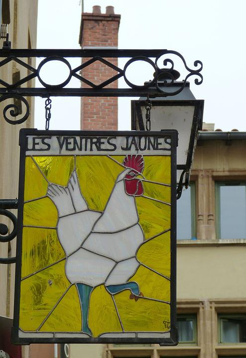 Lyon, France, Old Town, Shield, Advertising, Glass