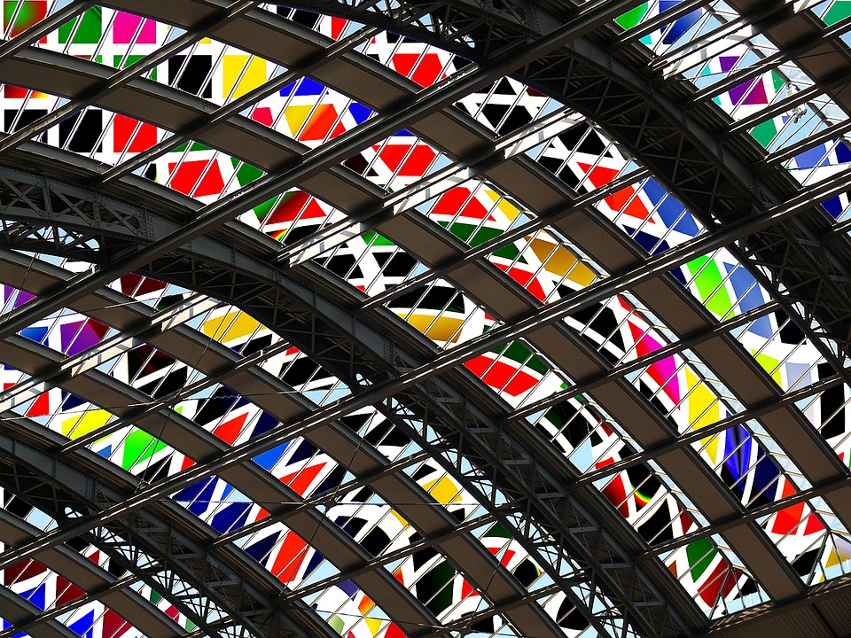 Glass, Bright, Art, Pattern, Color, Railway Station