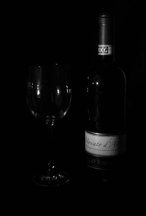 Wine, Glass, Black And White, Low Key, Dark