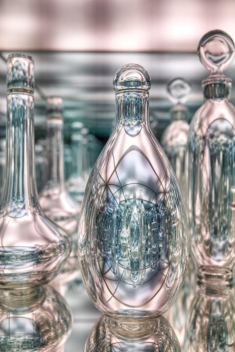 Glass, Bottle, Art, Blue, Clear, Mirror, Design, Boston