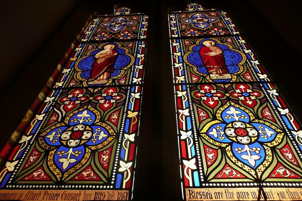 Windows, Church, Glass, Mosaic, Red, Blue