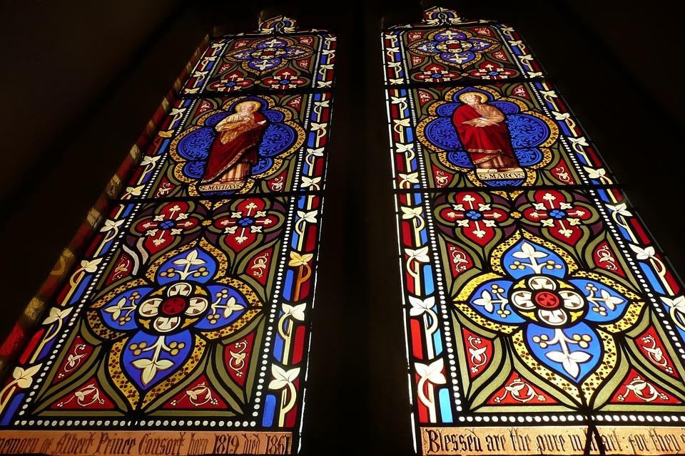 Windows, Church, Glass, Mosaic, Red, Blue