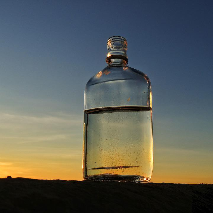 Bottle, Sunset, Horizon, Beach, Sky, Water, Glass, Dusk