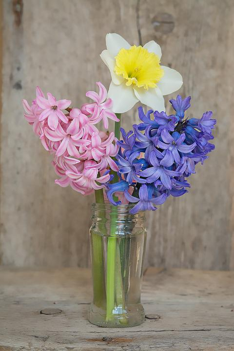 Free photo Glass Bouquet Narcissus Hyacinth Vase Flowers - Max Pixel