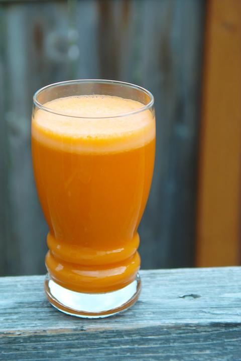 Carrot Juice, Glass, Cup, Outside, Deck, Wood, Health