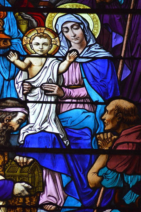 Stained Glass, Colorful, Glass, Woman, Child, Mary