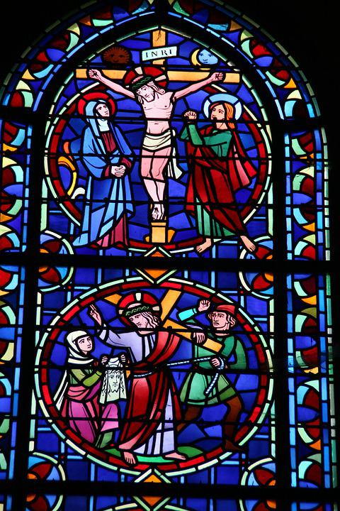 Crucifixion, Jesus, Window, Glass, Cross, Easter