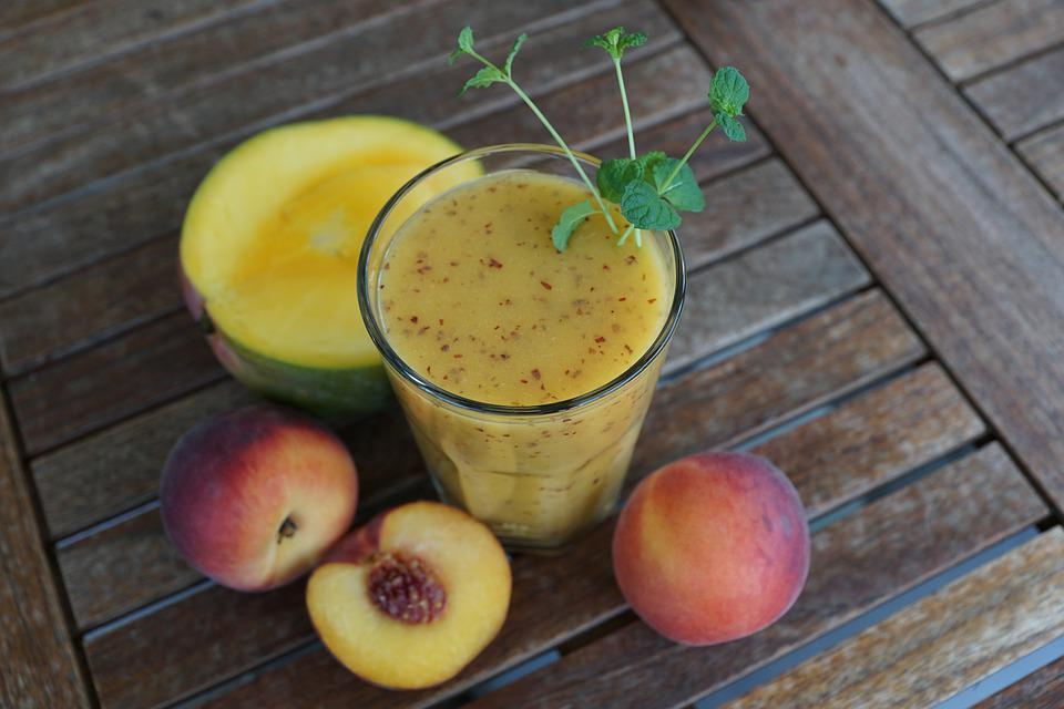 Smothie, Fruit, Drink, Glass, Healthy, Peach, Mango