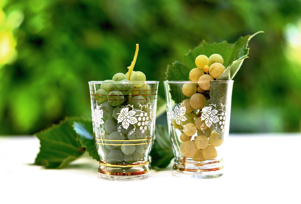 Grapes, Wine Glass, White Grapes, Fruit, Glass