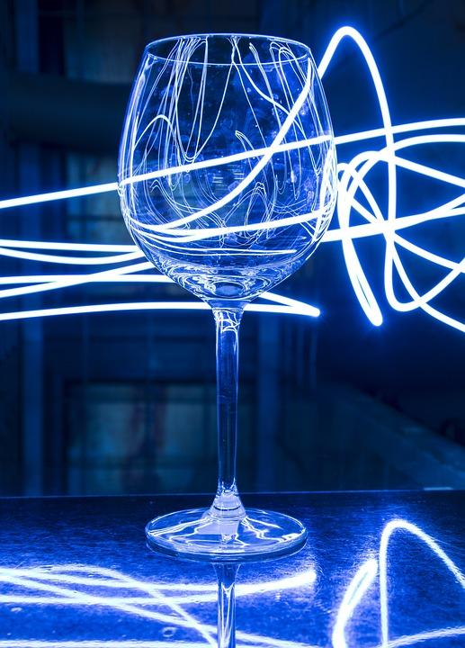 Light Painting, Glass, Blue, Color, Decoration