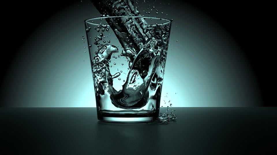 Cup, Water, Glass, Modre, Light