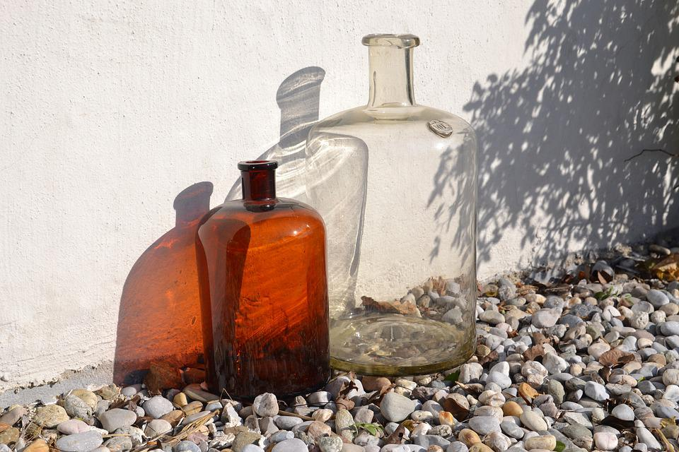 Bottles, Old, Blown, Transparent, Brown, Glass, Light